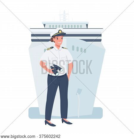 Woman Ship Captain Flat Color Vector Detailed Character. Gender Equality At Workplace. Cheerful Lady