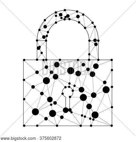 Padlock, Abstract Padlock Of Lines And Circles On A White Background. Vector, Cartoon Illustration.