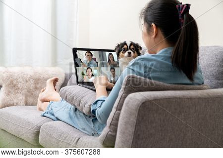 Asian Woman On Sofa And Team On Laptop Screen Talking And Discussion In Video Conference And Dog Int