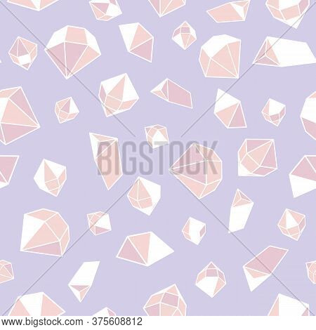 Pink Gemstones Seamless Vector Pattern. Crystal Jewels Surface Print Design For Fabrics, Stationery,