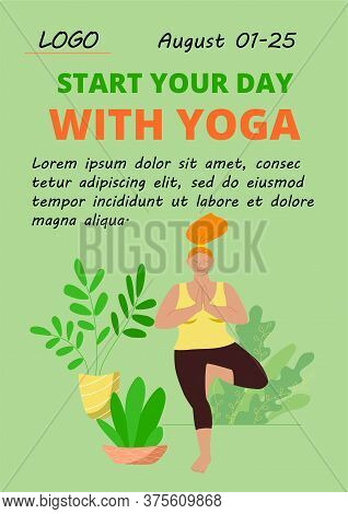 Poster Home Yoga Template. Body Positive Girl In A Tracksuit Doing An Asana. Online Relaxing Practic