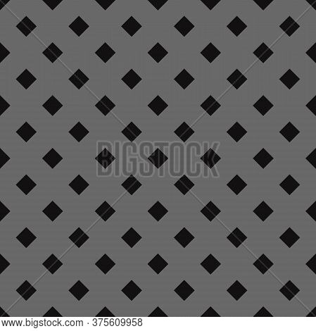 Black Diamond Polka Seamless Pattern. Dim Gray Background. Fabric Designs And Backgrounds.