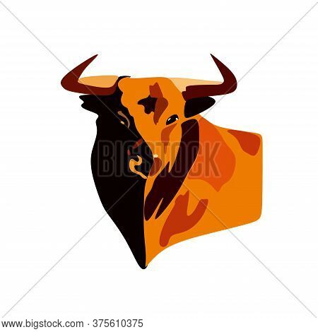 The Drawing Shows An Angry Brown Bull. A Wild Animal Has Big Horns And A Strong Body And It Is Angry