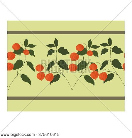 Seamless Border With Orange Physalis Flowers On Curved Branches With Green Leaves On A Gray-beige Ba