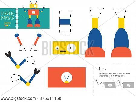Cut And Glue Paper Vector Toy. Funny Robot Character As A Cardboard Cutout Model