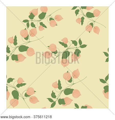 Seamless Pattern With Light Pink Physalis Flowers On Branches With Green Leaves And A Pink Backgroun