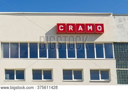 Tallinn, Estonia - 8.07.2020. Outside Logo Of Cramo Rental Sign Over Their Shop In Tallinn, Estonia.