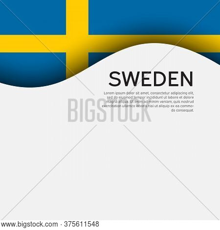 Background With Flag Of Sweden. Sweden Flag On A White Background. State Swedish Patriotic Banner, F