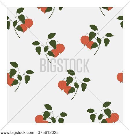 Seamless Pattern With Terracotta-colored Physalis Flowers On Branches With Green Leaves And A Blue B