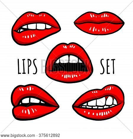 Res Lips Collection. Vector Illustration Of Woman's Lips. Hand Drawn. Isolated Elements On White Bac