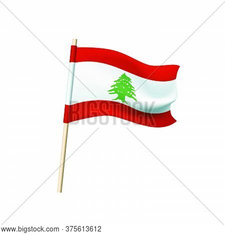 Lebanon Flag. Lebanese Cedar And Red Stripes On A White Background. Vector