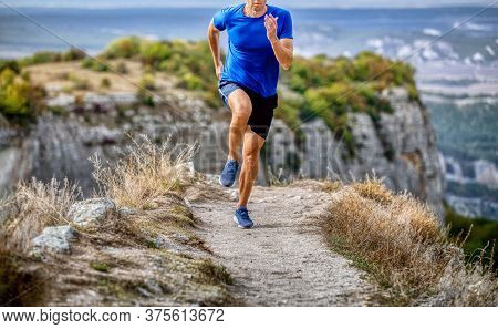 Runner Athlete Run Mountain Narrow Trail Along Canyon