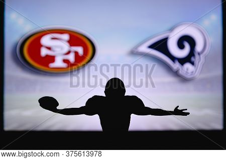 San Francisco 49ers Vs. Los Angeles Rams. Nfl Game. American Football League Match. Silhouette Of Pr