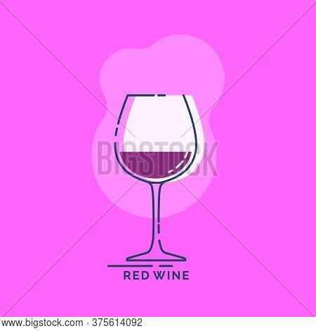 Wineglass For Red Wine Line Art In Flat Style. Restaurant Alcoholic Illustration For Celebration Des