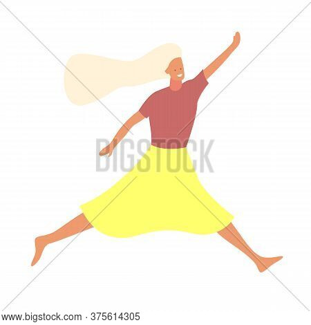Young Beautiful Girl Jumping With Smile Flat Vector Illustration. Girl Having Fun, Dancing And Jumpi
