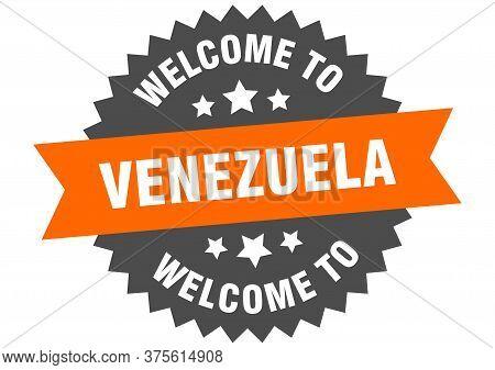 Venezuela Sign. Welcome To Venezuela Orange Sticker