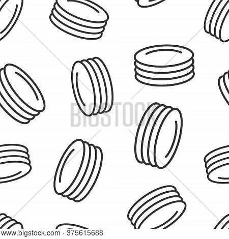 Plate Icon In Flat Style. Dish Vector Illustration On White Isolated Background. Tableware Seamless