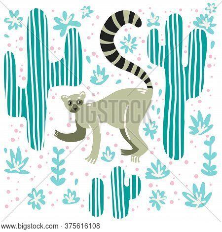 Tropical Pattern. Lemur In The Jungle. Cute Childish Illustration With Lemur.