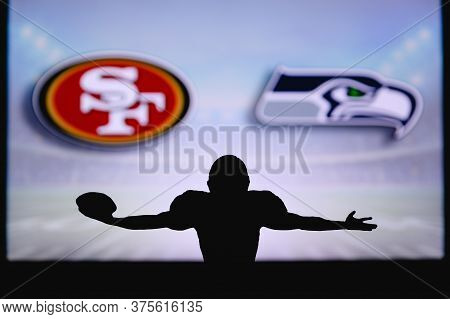 San Francisco 49ers Vs. Seattle Seahawks. Nfl Game. American Football League Match. Silhouette Of Pr
