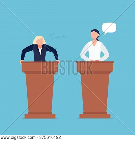 Female Candidates Taking Part In Debates. Pair Of Government Workers Talking To Each Other, Discussi