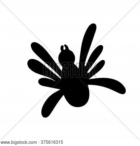 Black Spider Isolated On A White Background. Silhouette Of A Spider. Design Element For Halloween. V