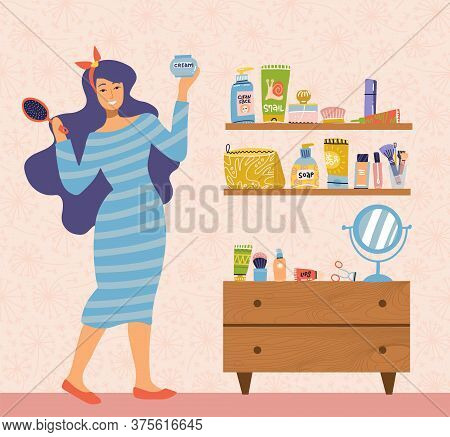 Illustration Of Woman In Dress Caring For Herself Standing At Table With Mirror In Room. Everyday Pe