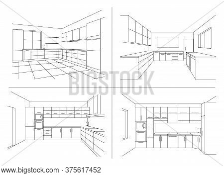 Kitchen Interior Sketches. Line Vector Illustration Of Modern Kitchen With Furniture. Perspective Sk