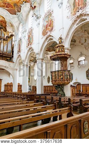 Interior View Of The St. Fridolin Cathedral In Bad Saeckingen With The Pulpit