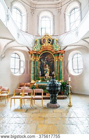 Interior View Of The St. Fridolin Cathedral In Bad Saeckingen With The Chapel