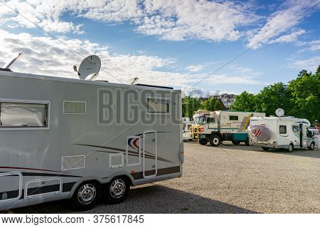 Bad Saeckingen, Bw / Germany - 4 July 2020: View Of The Rv Park In The City Of Bad Saeckingen In Sou
