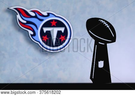 Tennessee Titans Professional American Football Club, Silhouette Of Nfl Trophy, Logo Of The Club In
