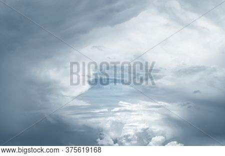 Heaven Sky And White Clouds. Heaven Sky With Light In Center And Dark Frame. Spiritual Religious Bac