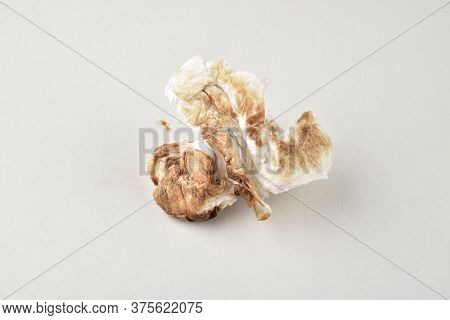 Dirty Tissue Paper Isolated On White Background, Dirty Sanitary Pad Pad