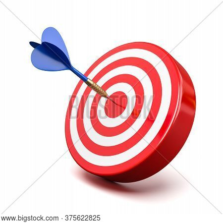 One Blue Dart Hitting A Red Target On The Center On White Background 3d Illustration