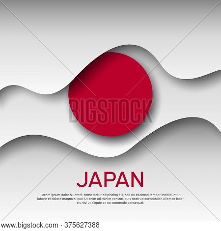 Japan Abstract Flag Background For Creative Design. Graphic Wavy Japanese Background, Pattern. Cut O