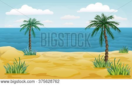 Summer Beach Vector Background. Tropical Sea And Sandy Shore With Palms. Cartoon Style Illustration