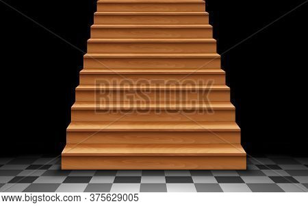 Wooden Staircase On The Tile Floor In The Dark Room