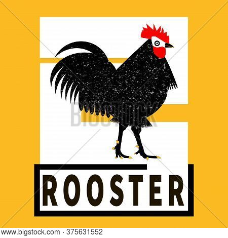 Rooster Black Silhouette. Black, Yellow, White. Grunge Cock Label, Sticker For Rooster Manufacturing
