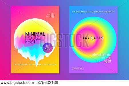 Music Poster Set. Wavy Indie Show Cover Layout. Fluid Holographic Gradient Shape And Line. Electroni
