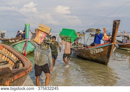 February 2019. Ko Lipe Island, Thailand. People Working And Delivering Goods To Ko Lipe, Thailand