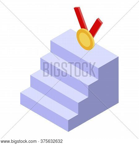 Business Medal Stairs Icon. Isometric Of Business Medal Stairs Vector Icon For Web Design Isolated O