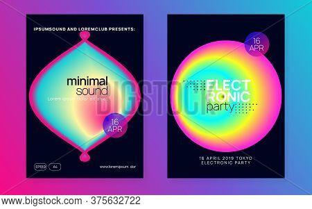 Music Fest Set. Fluid Holographic Gradient Shape And Line. Trendy Indie Event Magazine Design. Elect