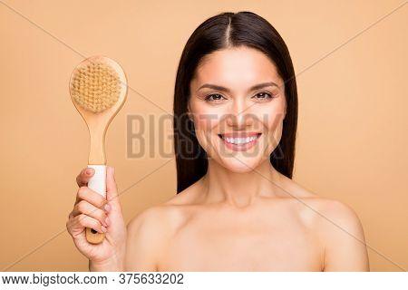 Closeup Photo Of Attractive Latin Naked Lady Model Holding Big Massage Scrub Brush Home Pampering Pr