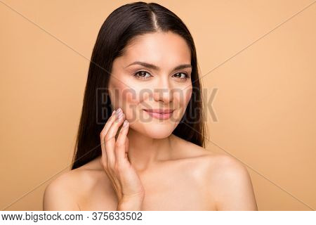 Close-up Portrait Of Her She Nice-looking Attractive Lovely Pretty Charming Woman Touching Cheek Per