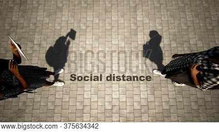 Concept or conceptual 3d illustration of shopping under social distance guidelines on a pavement background as a means of preventing the spread of the coronavirus. A metaphor for the new normal.