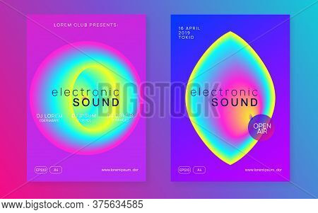 Music Flyer Set. Modern Techno Show Cover Design. Electronic Sound. Night Dance Lifestyle Holiday. F