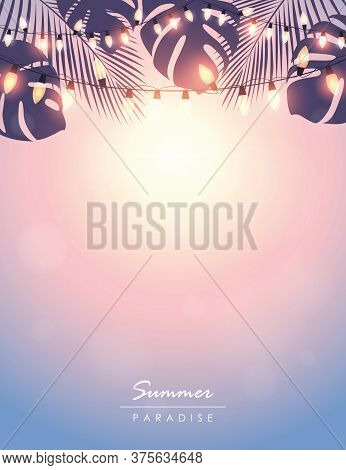 Tropical Summer Paradise Background With Fairy Light And Palm Leaves Vector Illustration Eps10