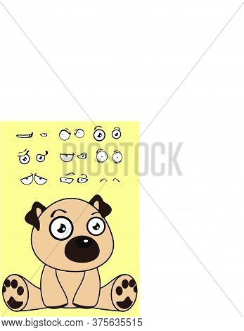 Cute Sitting Baby Pug Dog Cartoon Expressions Set Collection In Vector Format
