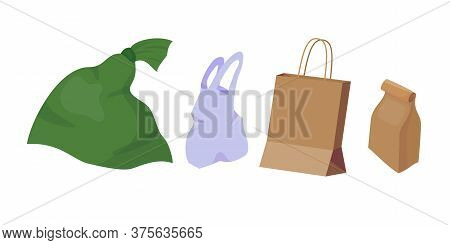 Set With Different Size Packets. Big Plastic Packet, Middle Plastic Packaging, Carton Package And Fa