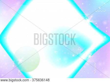 Vibrant Gradients On Rainbow Background. Holographic Dynamic Fluid. Cosmos Hologram. Design Template